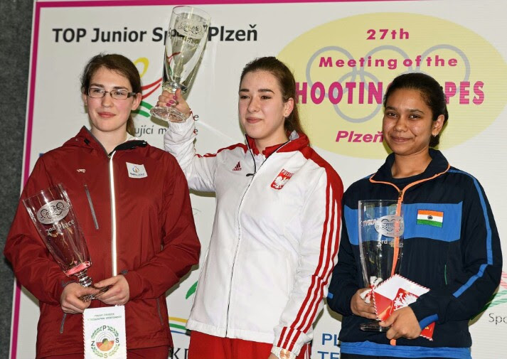 Muskan on the podium at the 27th Meeting of Shooting Hopes. Image Credit: Muskan Bhanwala