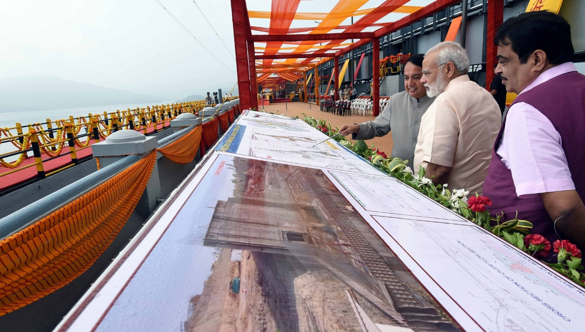 Narendra Modi inaugurated the Sardar Sarovar dam on the Narmada river, in September 2017. Jawaharlal Nehru laid the foundation stone of this project in 1961. (Photo credit: IANS).