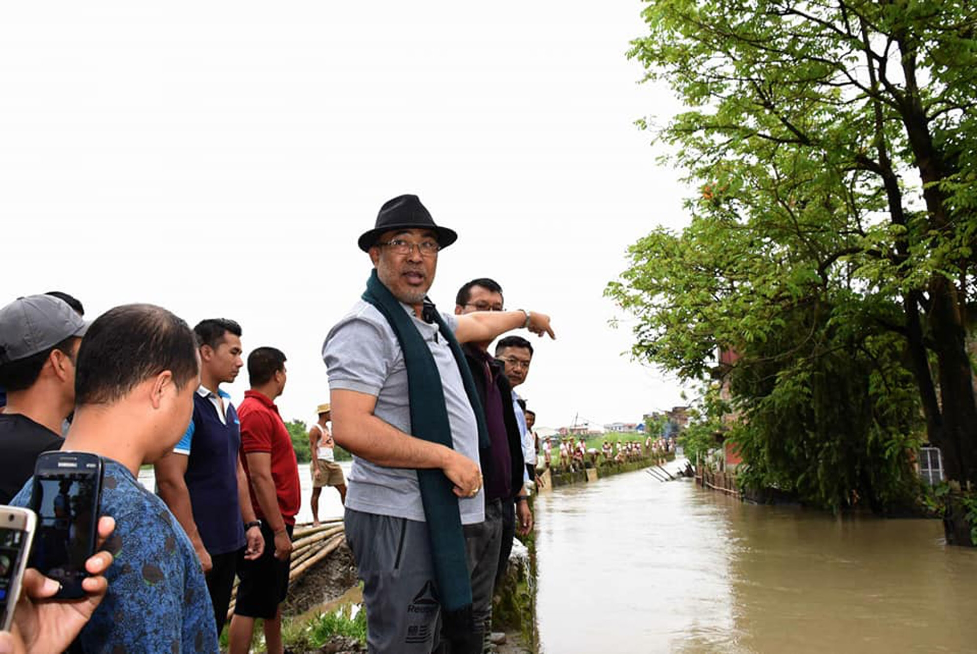 Manipur Chief Minister N Biren Singh during a visit to flood-affected areas in Imphal on Thursday. Photo credit: IANS