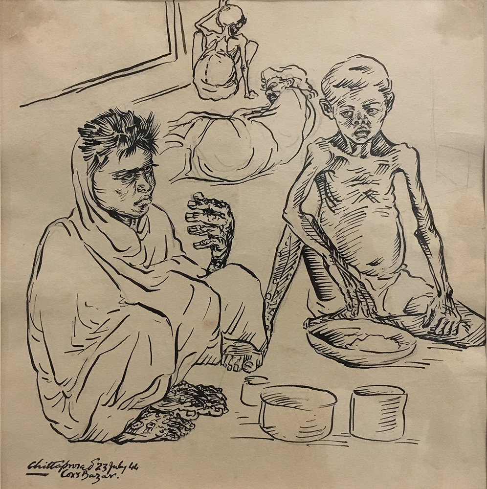 Chittaprosad Bhattacharya's illustration of Sarajubala Kaibarta and her son Sumanta. Image courtesy: Vijay Prashad