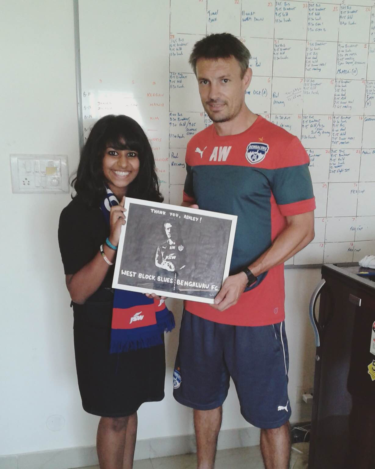 Varsha with ex-Bengaluru head coach Ashley Westwood