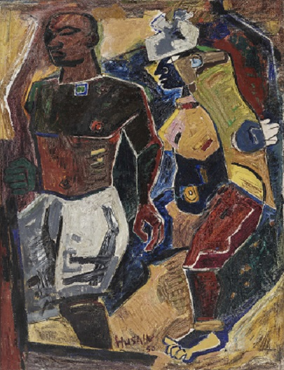 MF Husain 'Peasant Couple', 1950, Courtesy of the Peabody Essex Museum, Salem, MA. Photography by Walter Silver. Image courtesy: Asia Society.