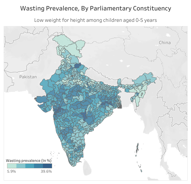 Source: State of Nutrition Among Children. Note: Shapefile for the map sourced from DataMeet, based on Election Commission of India data. List of Lok Sabha members and their political parties has been extracted from the Lok Sabha website on March 20, 2019.