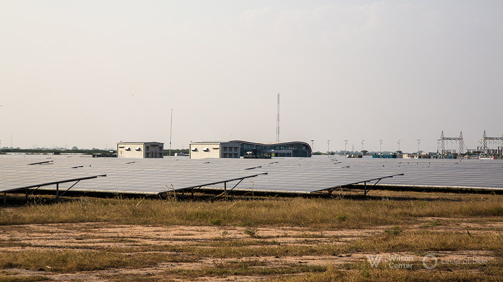 India's pivot away from coal is aided by one of the world's largest solar photovoltaic plants, which opened last year on dry rangeland near Kamuthi in southern Tamil Nadu. Photograph by, Dhruv Malhotra © Wilson Center/Circle of Blue