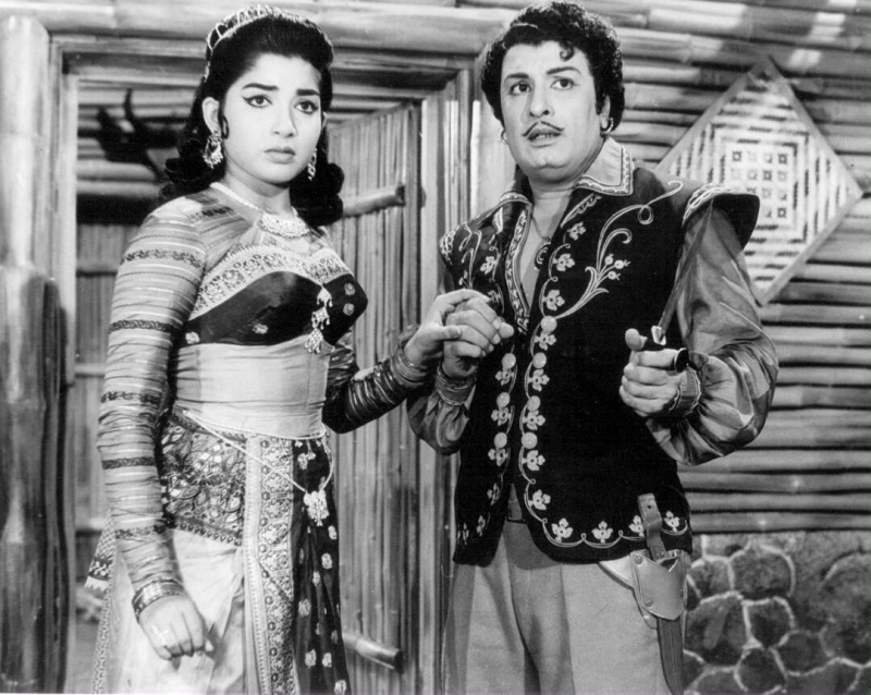 MGR with Jayalalithaa in 'Ayirathil Oruvan,' her second Tamil movie. Courtesy G Dhananjayan.