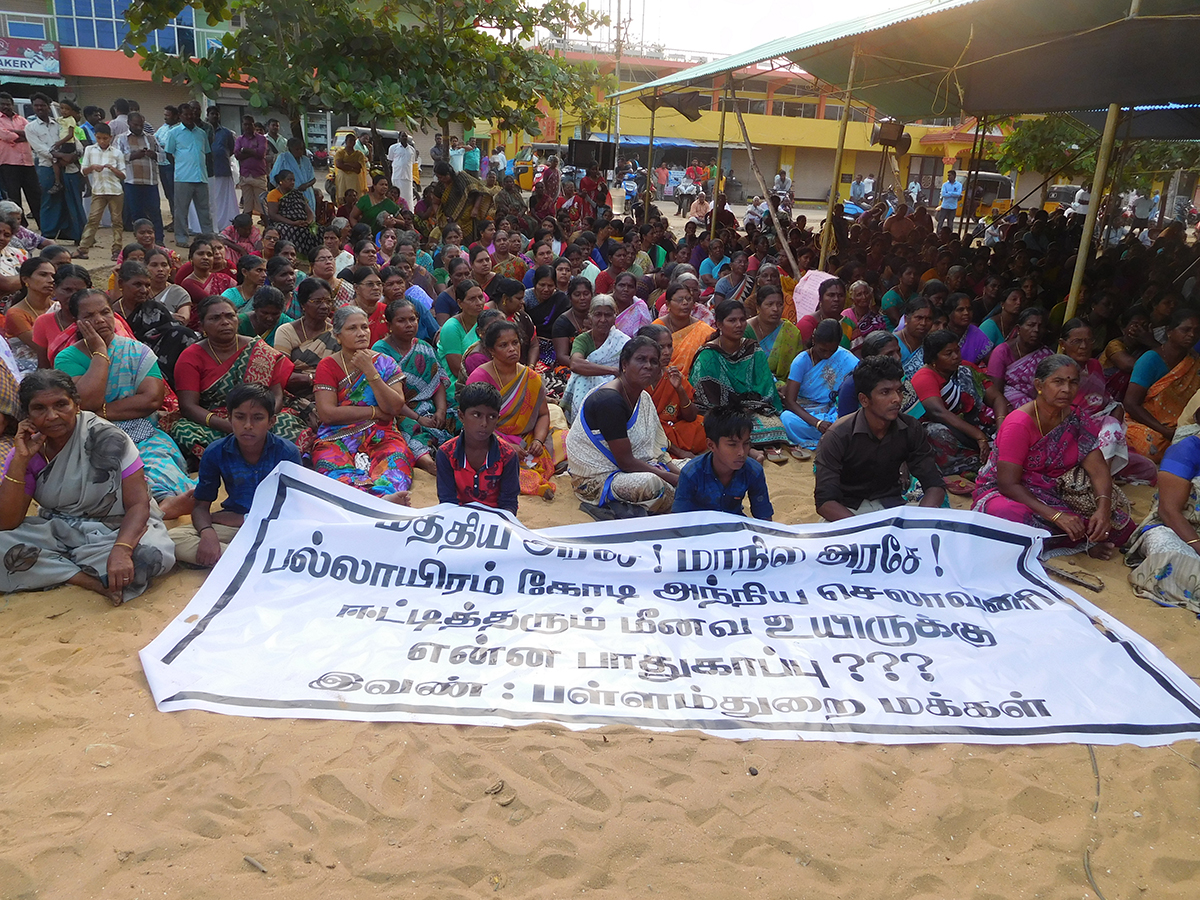 Fisherfolk protest in front of St Jude's Church in Chinnathurain in Thoothoor.