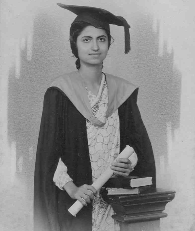 Nineteen-year-old Mira Advani, a first-class double-graduate with an MA and MSc in pure and applied Mathematics from DJ Sind College in Karachi in 1943.