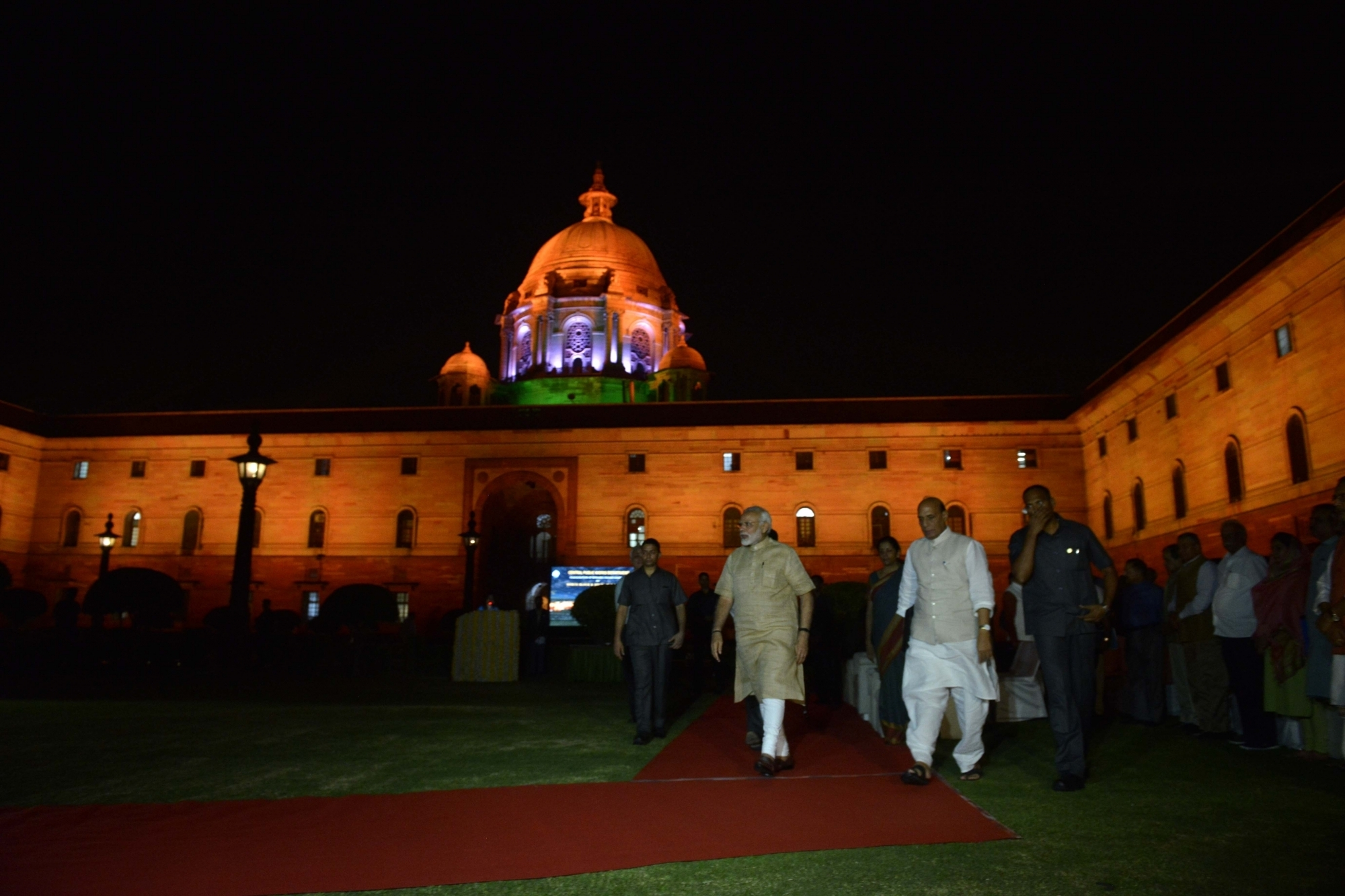 Narendra Modi, Rajnath Singh and Nirmala Sitharaman attended the inauguration of the new lighting system. (Credit: IANS)