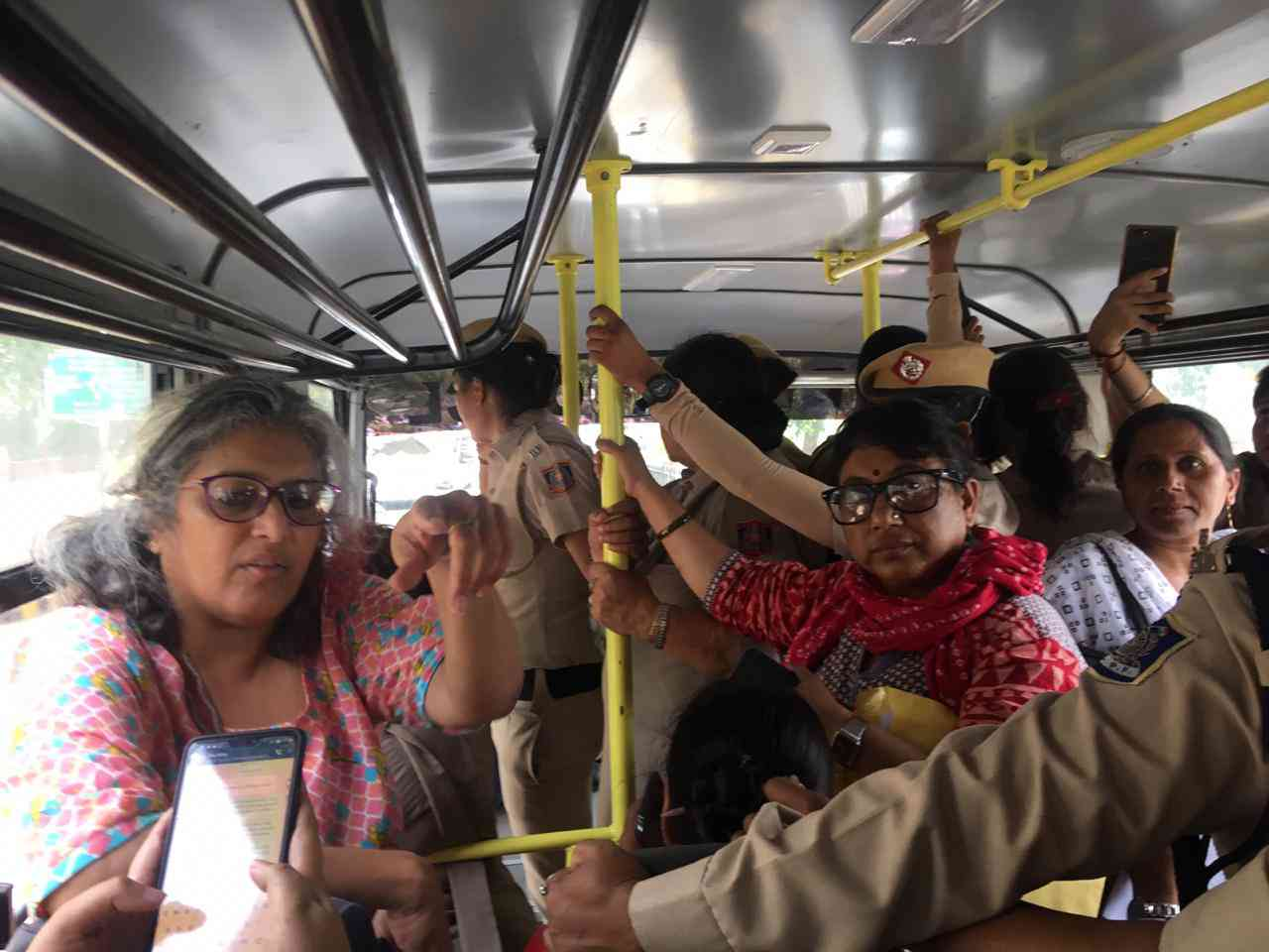 Inside the police bus that took protestors to Mandir Marg police station in New Delhi.
