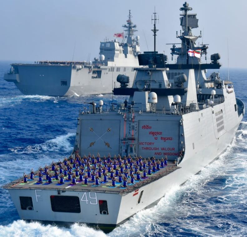 Yoga on board the Japan Maritime Self-Defence Force ship JS Ise and Indian Navy ship Sahyadri. (PIB India/Twitter)