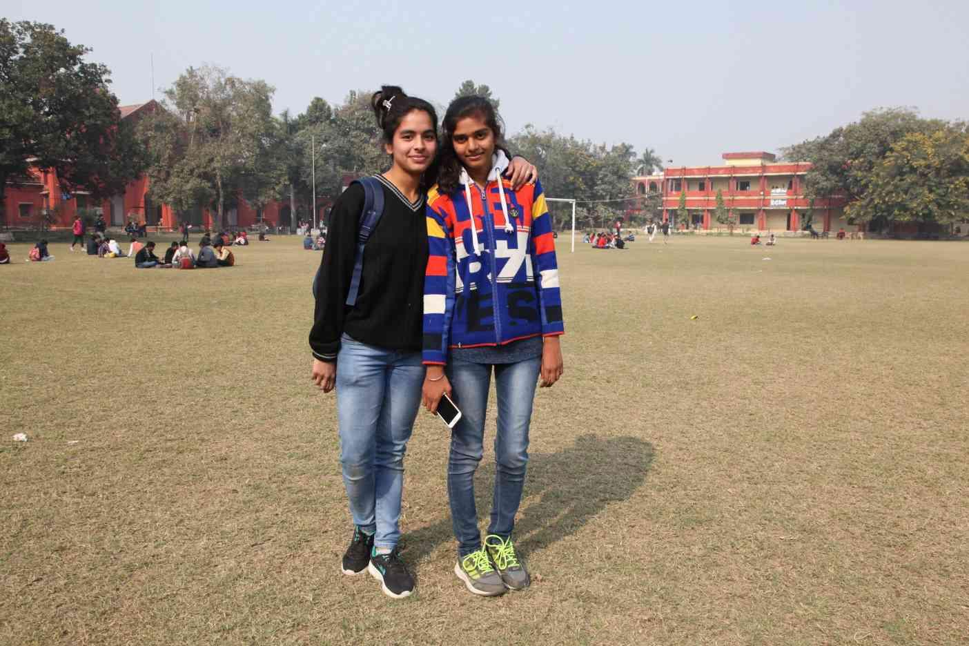 Rashmi Singh (right) and Alqama Zaidi at the Bareilly college.