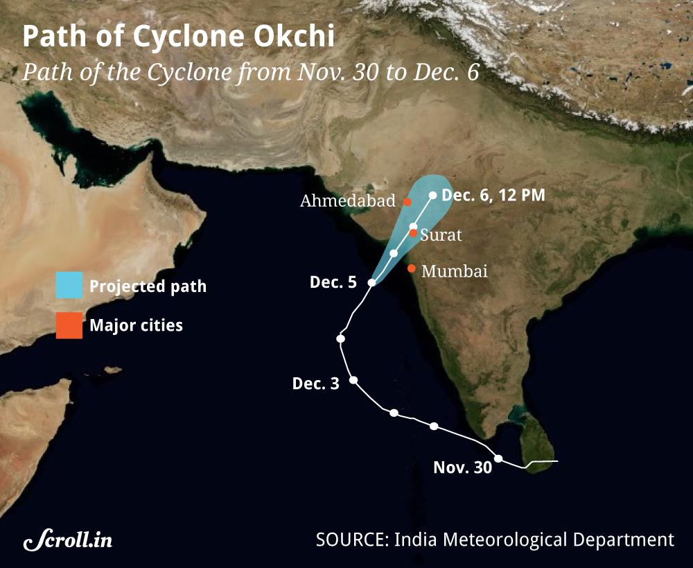 Unseasonal rain in Mumbai as Cyclone Ockhi passes Maharashtra, Gujarat