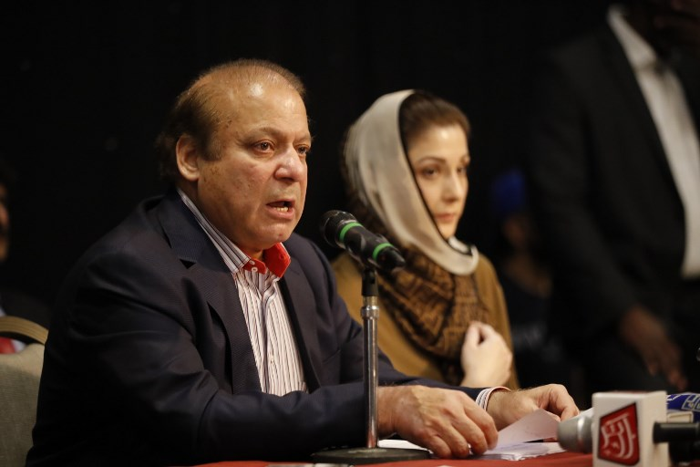 Nawaz Sharif, convicted of corruption and sentenced to 10 years in jail, returned to Pakistan on July 13. (Credit: AFP)