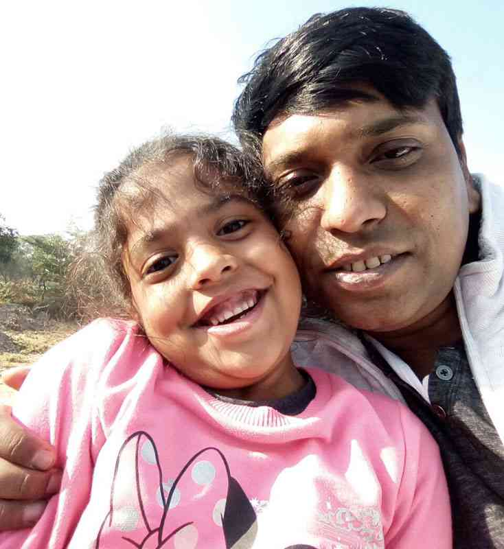 Adya Singh with her father, Jayant.
