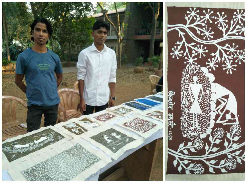 Pravin and Kishor Mhase. (Right) A painting by Pravin Mhase.