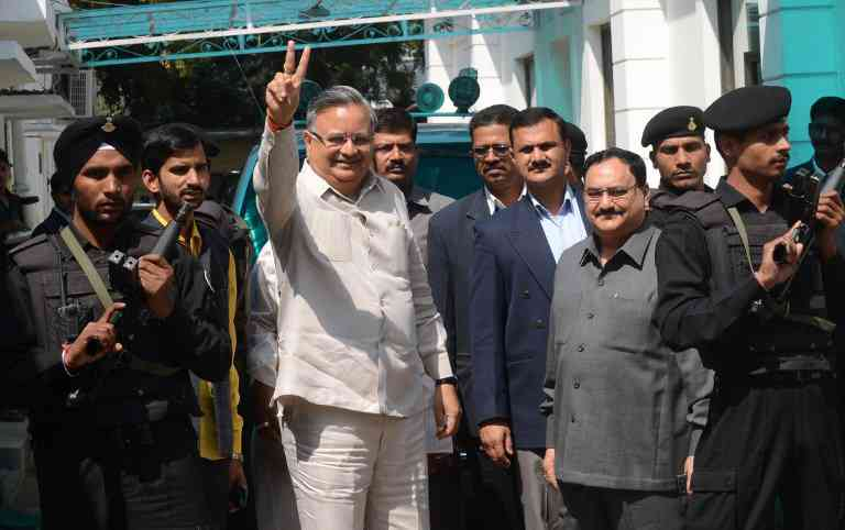 Chhattisgarh Chief Minister Raman Singh in New Delhi on March 13, 2014. (Photo credit: AFP).