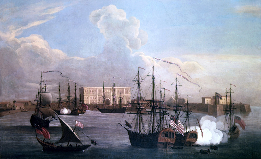 A painting of the East India Company's settlement in Bombay and ships in Bombay Harbour, by George Lambert and Samuel Scott, 1731. Image credit: Wikimedia Commons.