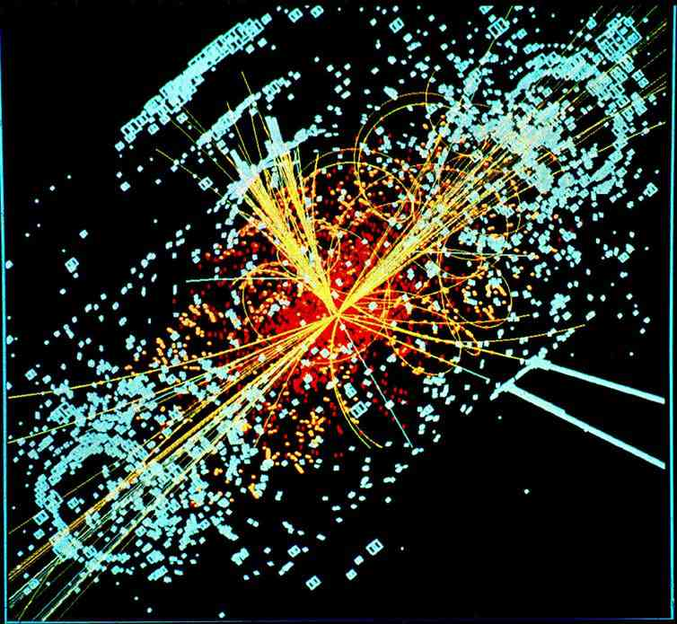 CMS model of a Higgs boson decaying into two jets of hadrons and two electrons. Photo Credit: Lucas Taylor/CERN [Licensed under CC BY 4.0]