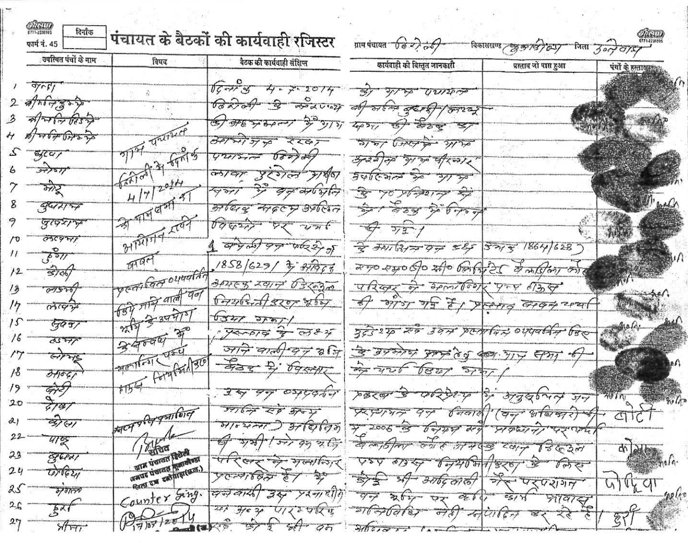 A copy of the panchayat register featuring the names, thumb impressions and signatures of 106 villagers who attended the gram sabha purportedly held in July 2014.