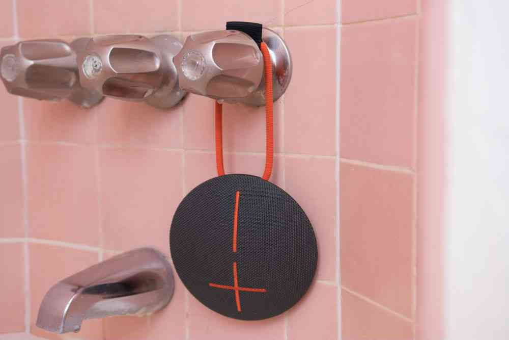 The UE Roll 2 speaker's integrated bungee cord lets you easily hang the speaker from a shower faucet and lots of other places, too. Photo credit: Kyle Fitzgerald.