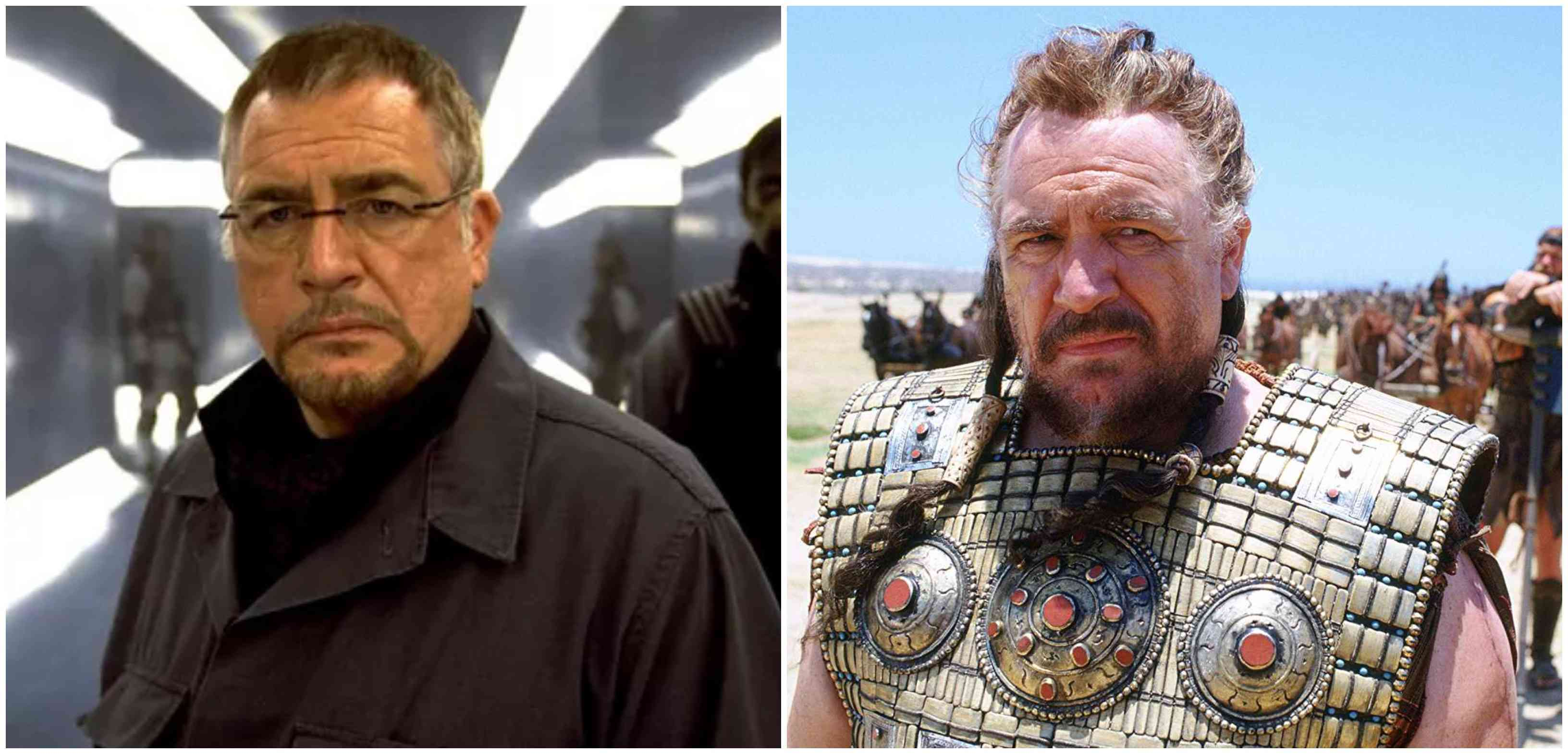 Brian Cox in X-Men 2 (left) and Troy. Courtesy Marvel/Warner Bros.