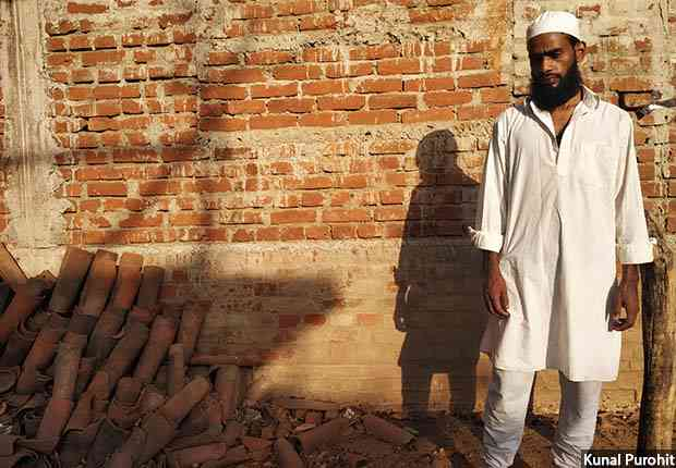 Imamul Haq stands outside the disputed mosque in Kolgarma village where he was assaulted. Credit: Kunal Purohit/FactChecker