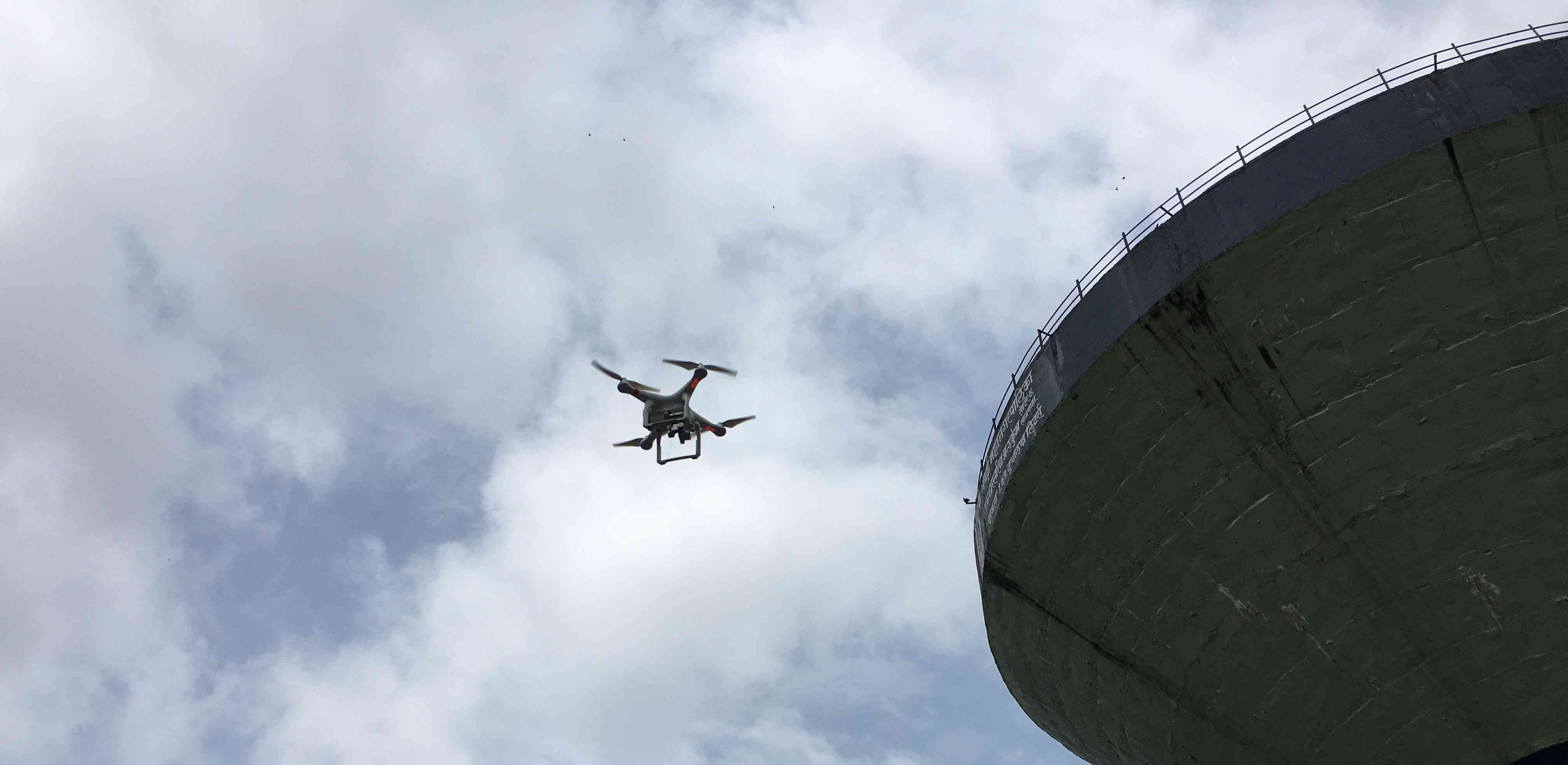 A drone spotted during a city survey by the Indian Institute for Human Settlements in Navi Mumbai, Maharashtra, in August 2018. Photo credit: Mukesh Yadav