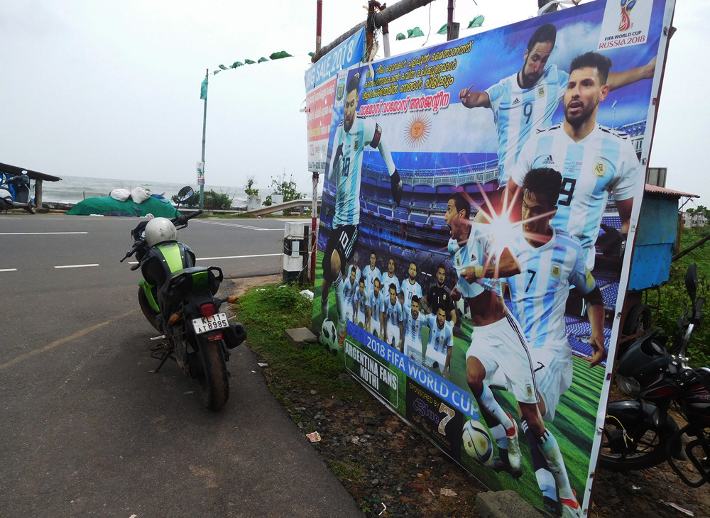 Argentina fans put up this hoarding in Ninan Valappu in Kozhikode. (Photo credit: TA Ameerudheen).