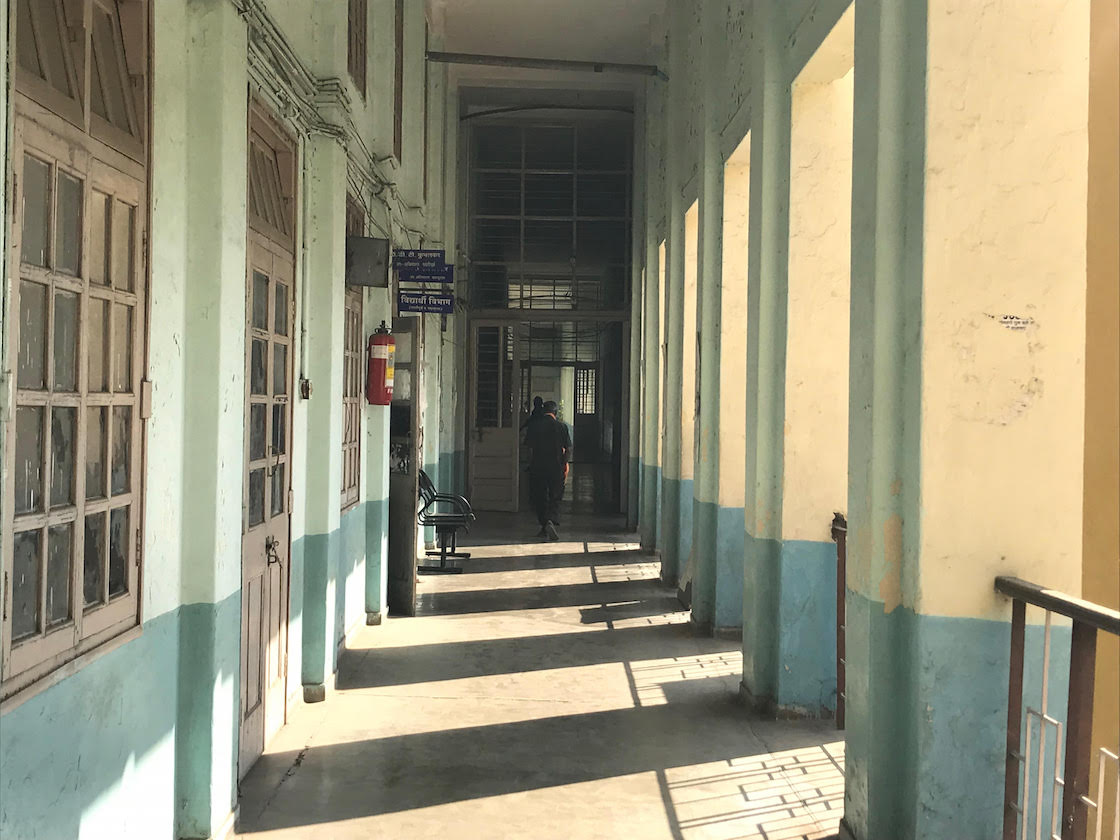 This corridor leads to the forensic science department of the Government Medical College in Nagpur. Credit: Supriya Sharma