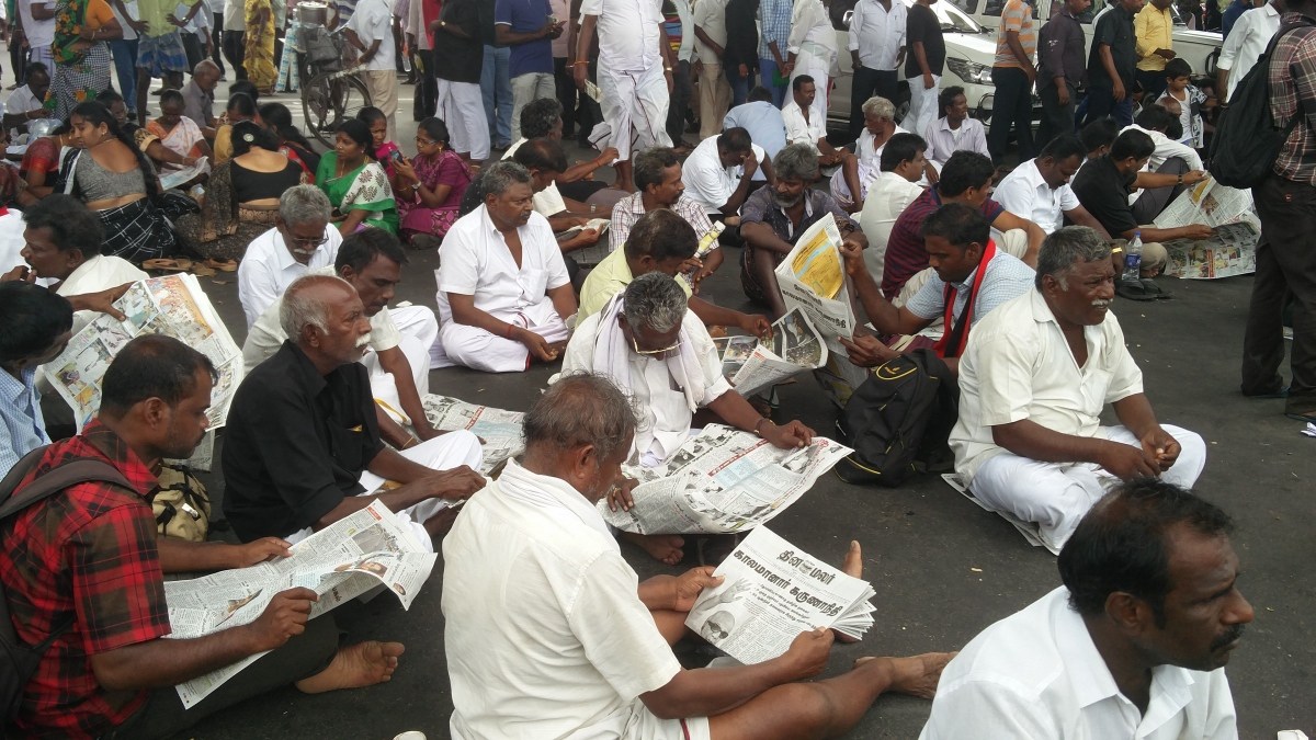 Karunanidhi's elderly supporters outside Rajaji Hall in Chennai. (Photo credit: Vinita Govindarajan).