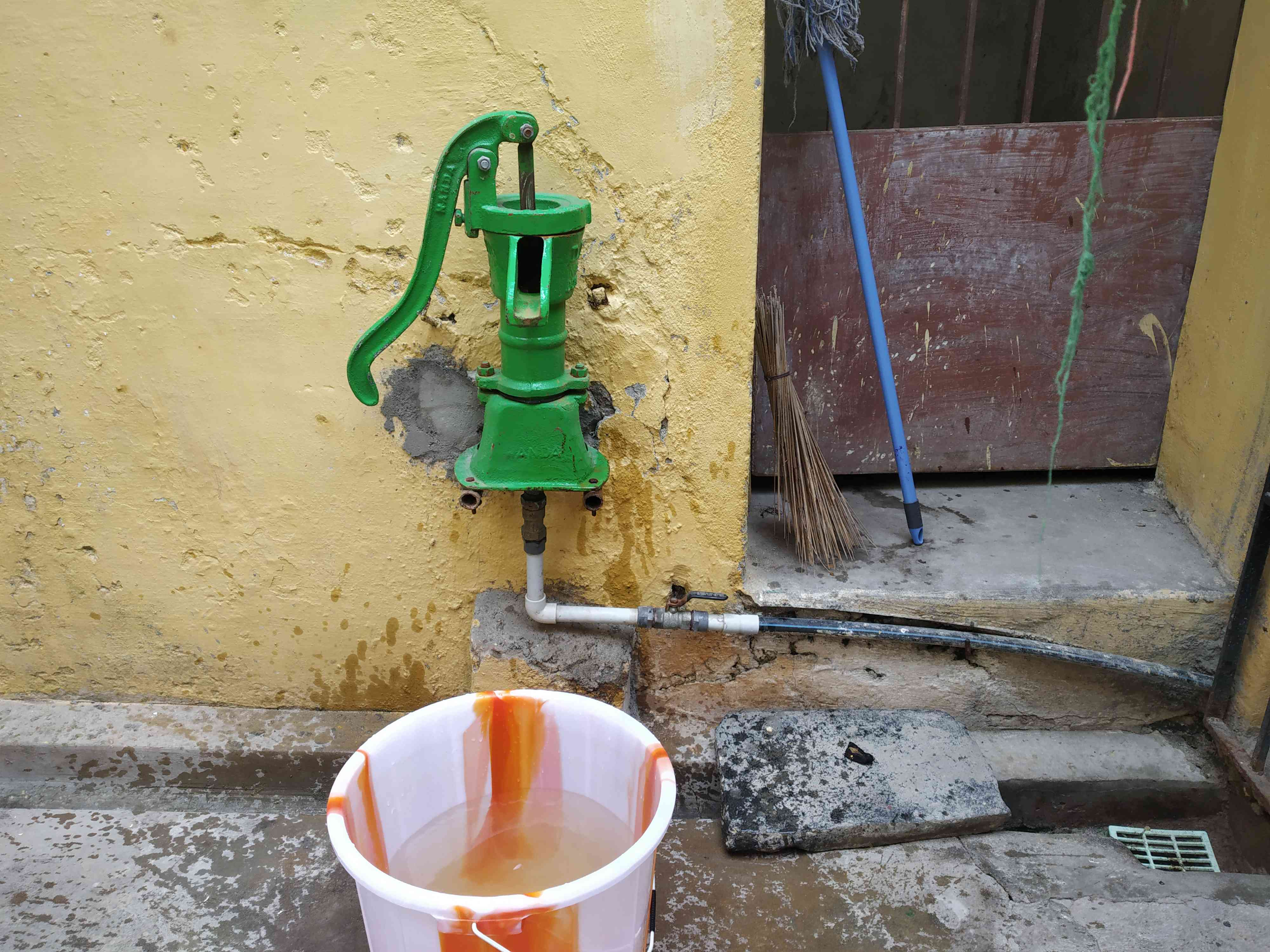 A hand pump used by residents to draw municipal water in Chennai. Some residents claimed the water being supplied was not clean.