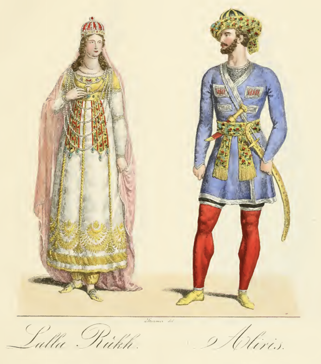 Grand Duchess Alexandra Feodorovna as Lalla Rookh and Prince Wilhelm of Prussia as Aliris, Berlin, 1821 drawn by Wilhelm Hensel