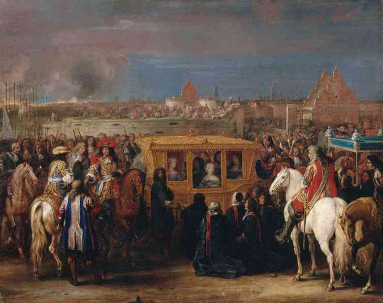 The coach was first and foremost a royal vehicle. Here, a 'modern' coach from the 1680s, with an ornately carved and gilded body, pulled by six horses. It was used by Louis XIV and Marie-Thérèse for their entry into the city of Douai in 1667. Painting by Adam François Van der Meulen, circa 1690. Photo credit: Château de Versailles