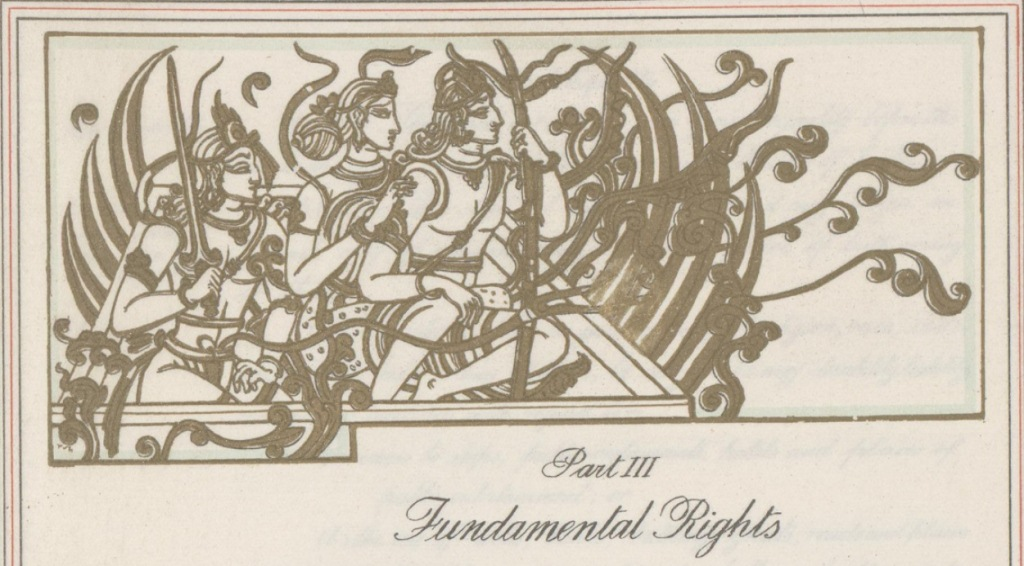 The Constitution's chapter on Fundamental Rights is headed by a scene from the Ramayana depicting the conquest of Lanka and Sita's 'recovery' by Rama.