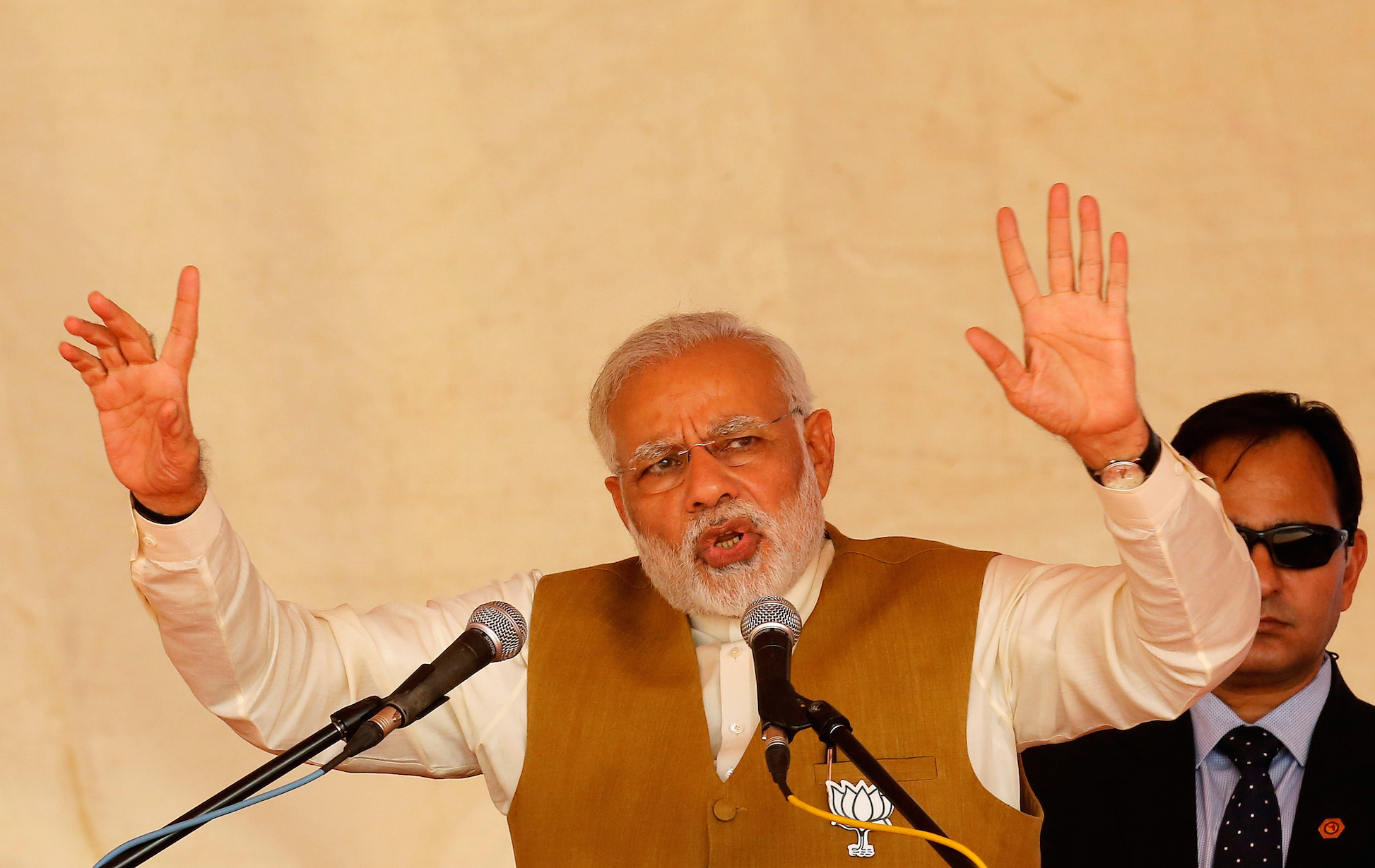 Prime Minister Narendra Modi addressing a gathering in Kalol in Gandhinagar district. Photo credit: REUTERS/Amit Dave