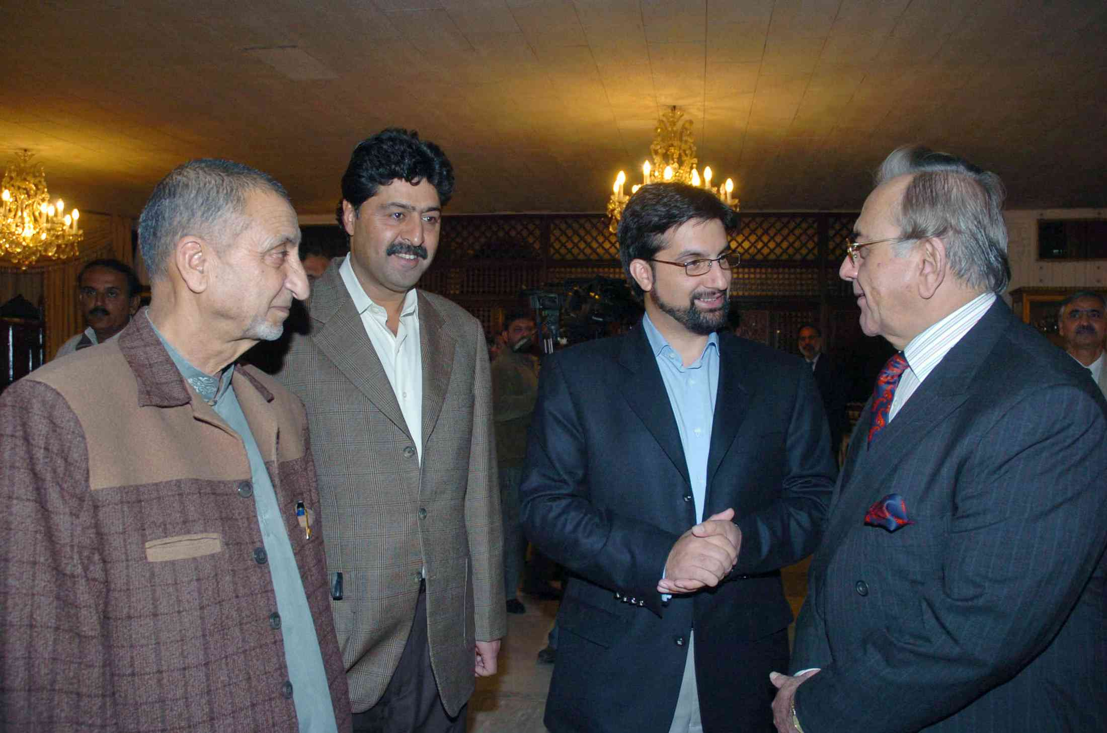 Hurriyat Conference leaders Abdul Gani Bhat, Bilal Gani Lone and Mirwaiz Umar Farooq with Pakistan's former Foreign Minister Khurshid Mahmud Kasuri, right, in Islamabad in 2007. Photo credit: Reuters
