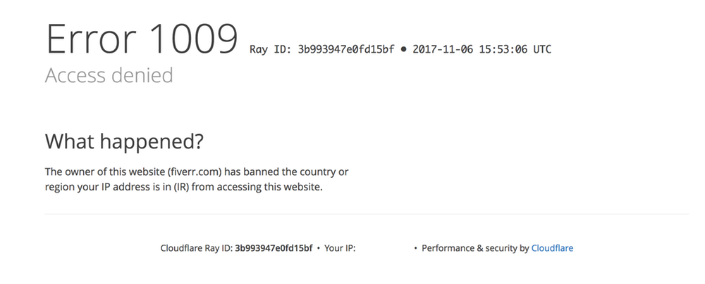Screenshot: Cloudflare's notification that the owner of a website has banned the country or region a user's IP address is in.