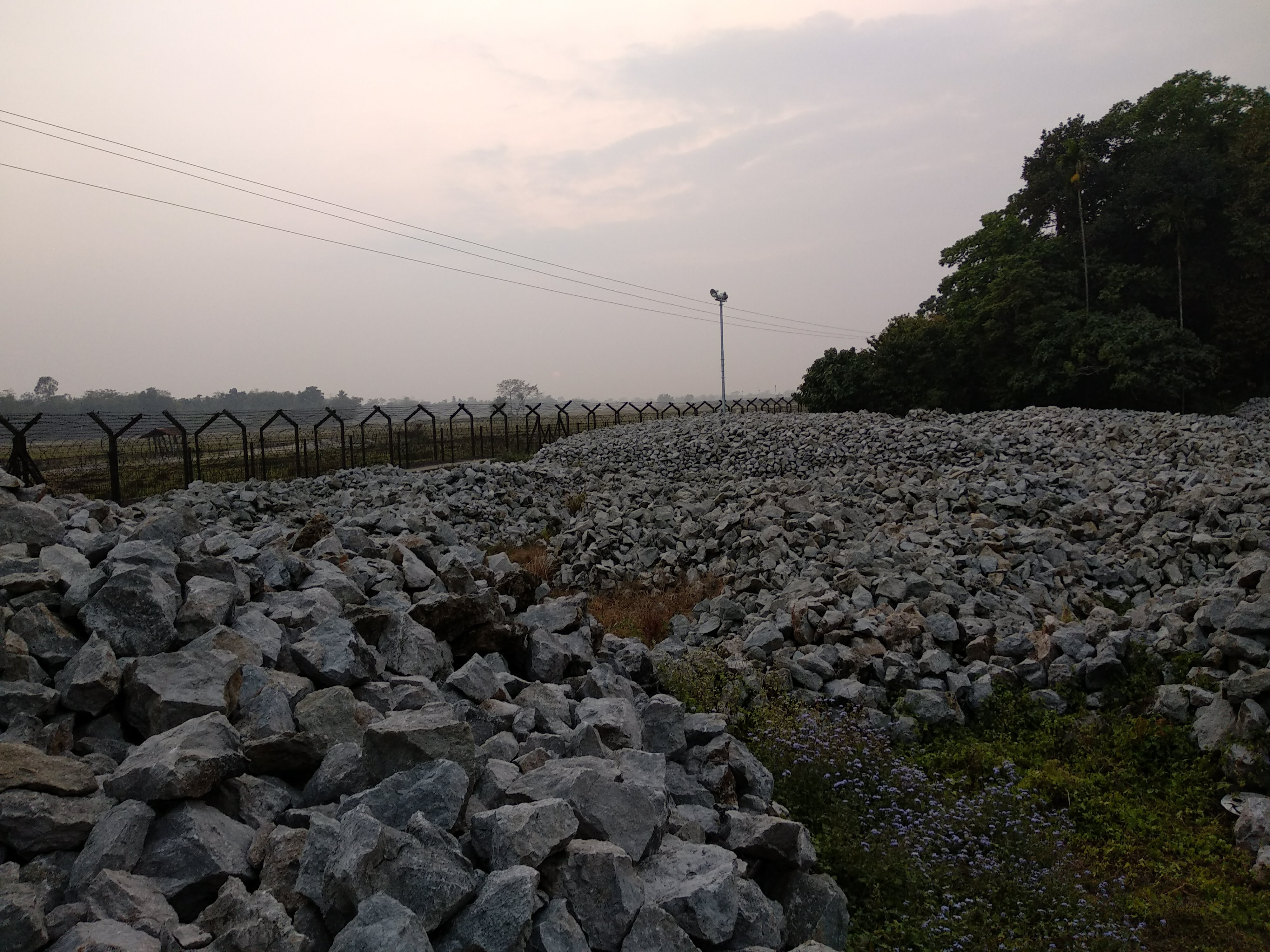 Limestone piled up near an export point on the India-Bangladesh border.