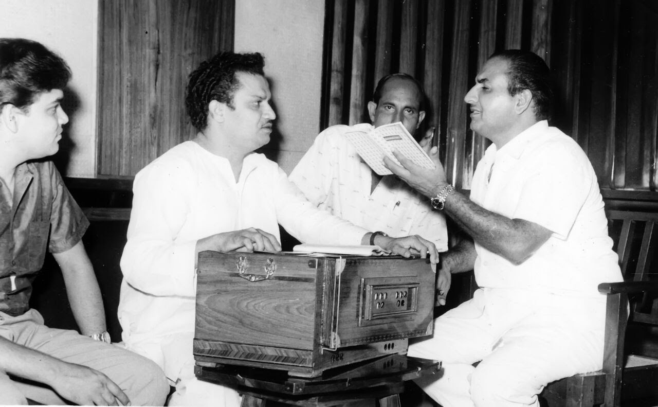 Dattaram Naik with Mohammed Rafi. Courtesy Roop Naik.
