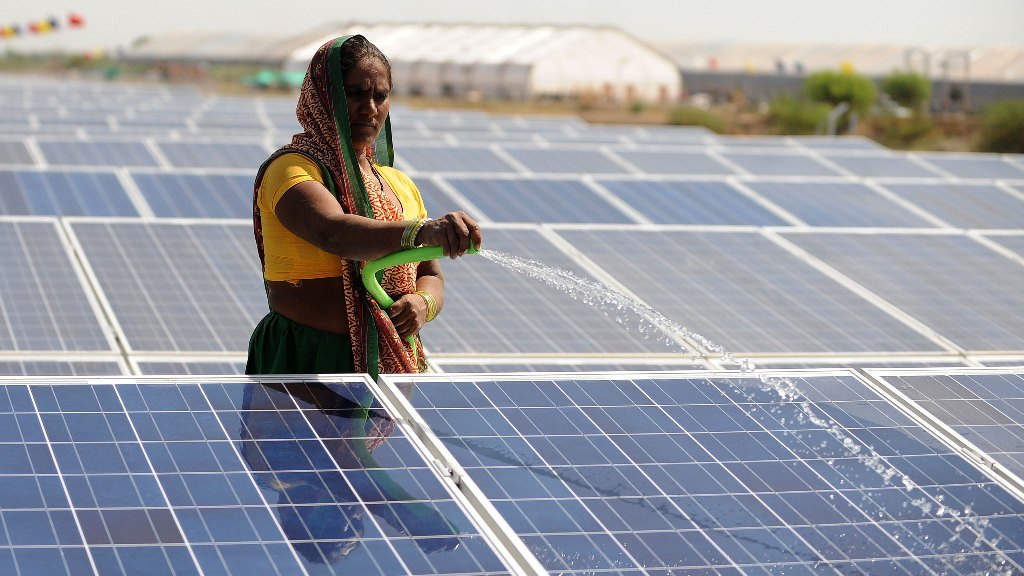 India plans to increase the share of renewable energy in its total power generation capacity to 40% by 2030. Photo credit: AFP