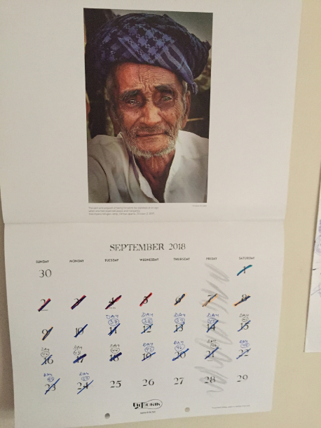 A Rohingya-themed Drik 2018 calendar at Shahidul Alam's apartment marks the days of his incarceration (Credit: Kanak Mani Dixit)