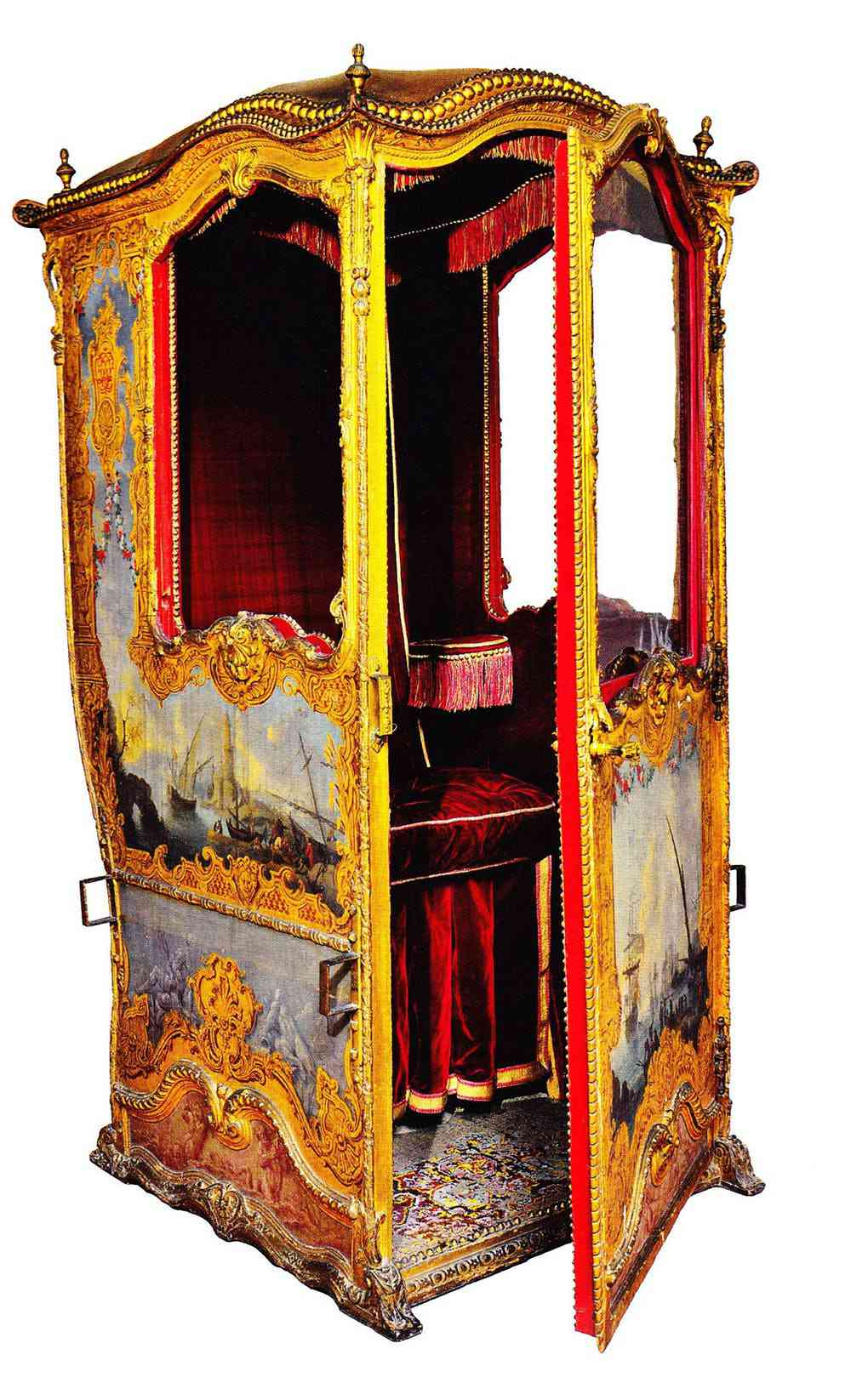 The sedan chair recommended by the anonymous citizen was also a privilege of the nobility during the Ancien Regime. Here is an example of a finely decorated model (circa 1730), decorated with designs of sailors and sailboats. Photo credit: Château de Versailles