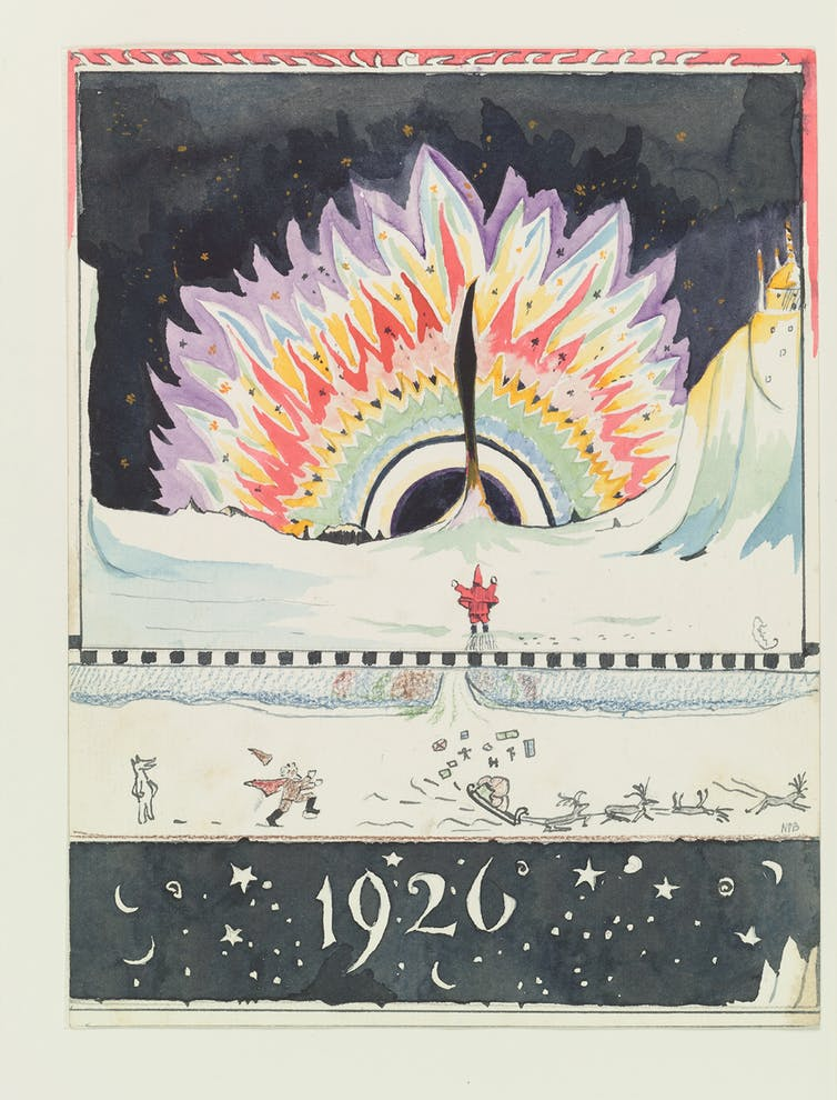 "The aurora borealis, 1926: ""Isn't the North Polar Bear silly? … [he] turned on all the Northern Lights for two years in one go. You have never heard or seen anything like it. I have tried to draw a picture of it: but I am too shaky to do it properly and you can't paint fizzing light can you?"" © The Tolkien Estate Ltd, 1976."