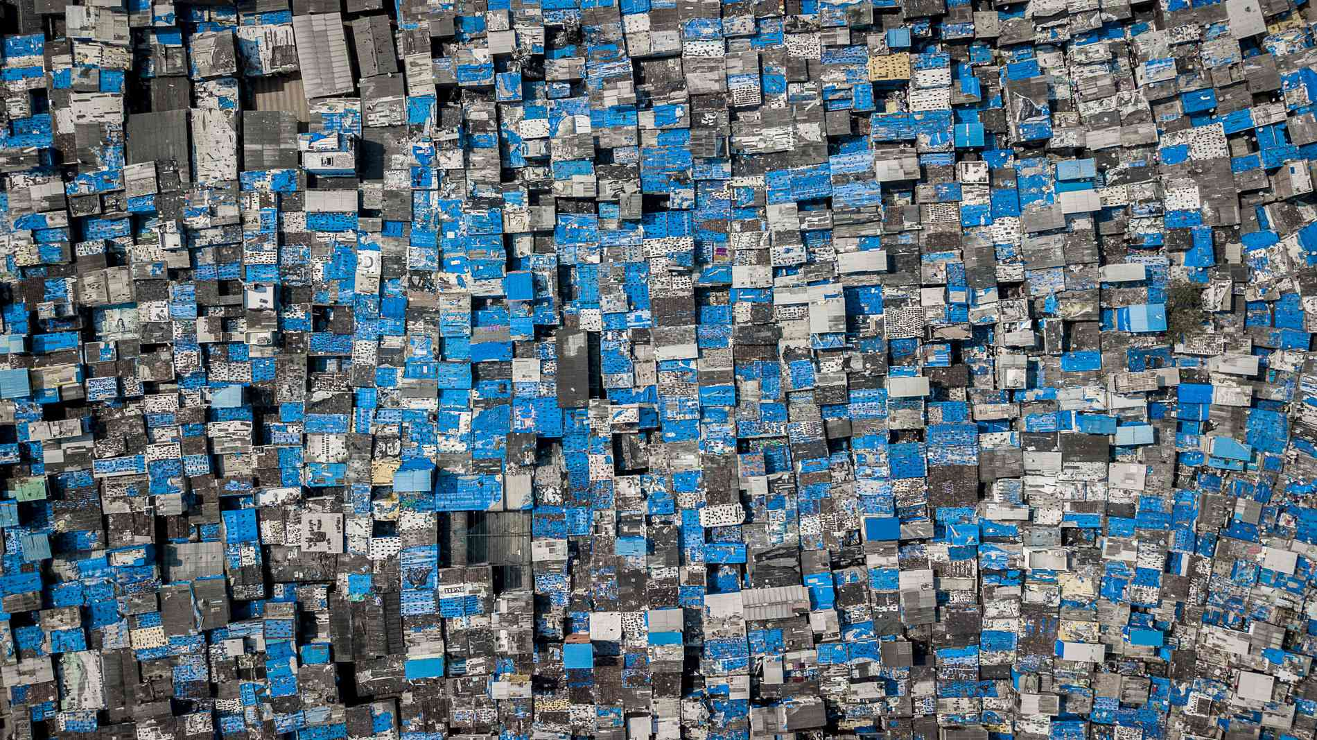 A closer view of Dharavi shows the immense density of the slum cluster.