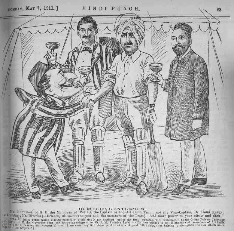A cartoon from 'Hindi Punch' depicts the team's farewell at the Orient Club in Mumbai in May, 1911. Credit: Penguin Books India.