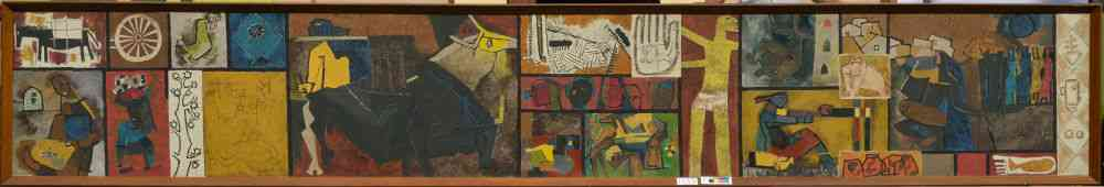 MF Husain, 'Zameen', 1955/1956 (Acc. No. 1135), Oil on canvas, 91.5 x 548.5 cm (Without frame), Collection: National Gallery of Modern Art, Delhi.