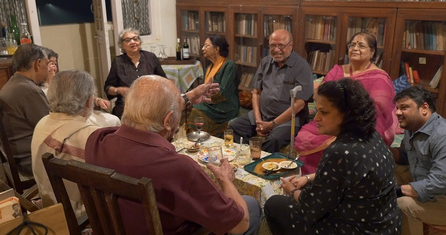 Scenes from a party at Ganga Vihar, where the guests included Shyam Benegal (centre). Courtesy Gautam Sonti.