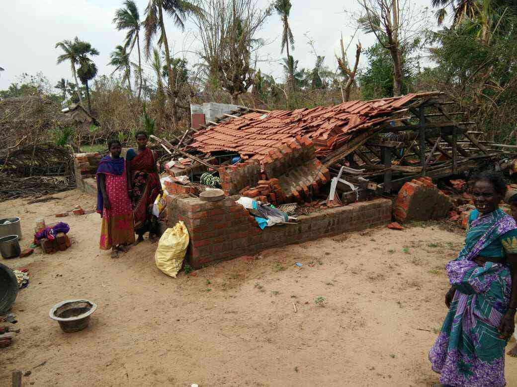 Malathi (right) built this home with her own hands, buying the bricks and sand for it bit by bit.