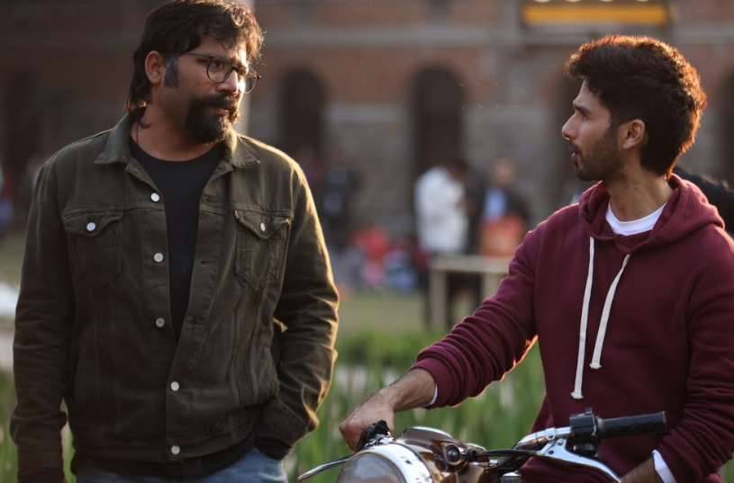 Sandeep Reddy Vanga and Shahid Kapoor on the sets of Kabir Singh.