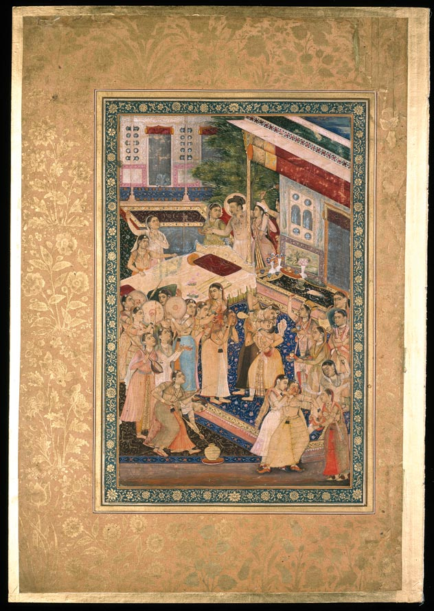 Jahangir celebrates the Hindu festival of Holi. A single folio from the Minto Album. Artist unknown, c. 1635. Coloured pigments and gold on paper. Photo: © The Trustees of The Chester Beatty Library, Dublin.